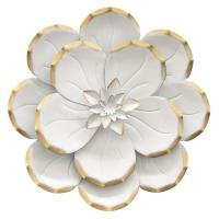 THREE HANDS 10.5 in. Metal Flower Wall Decor in White ...