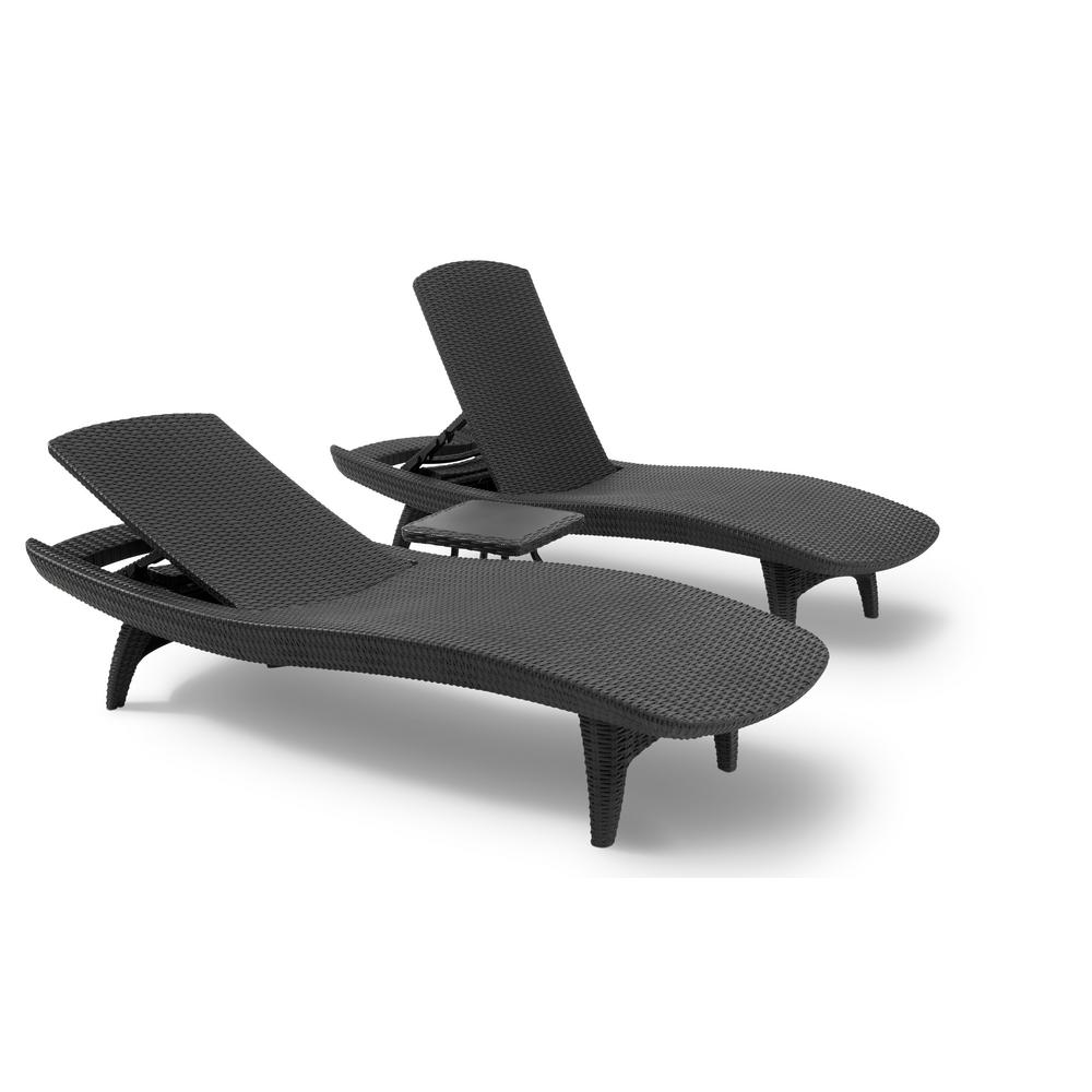 sofa lounger outdoor como se dice en ingles cama keter pacific grey all weather adjustable resin patio chaise with side table 3 piece set