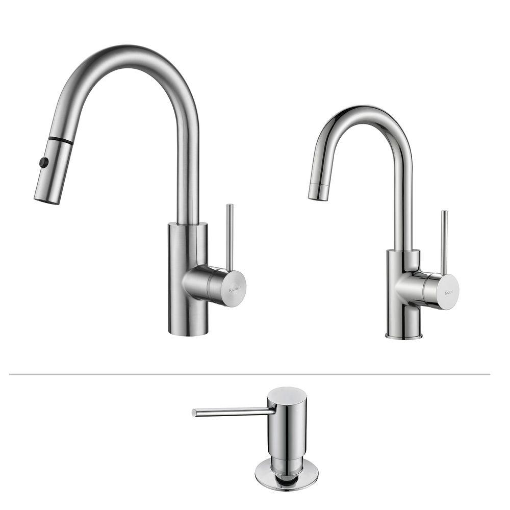 kraus kitchen faucet laminate cabinets oletto single handle pull down and bar with soap dispenser in chrome