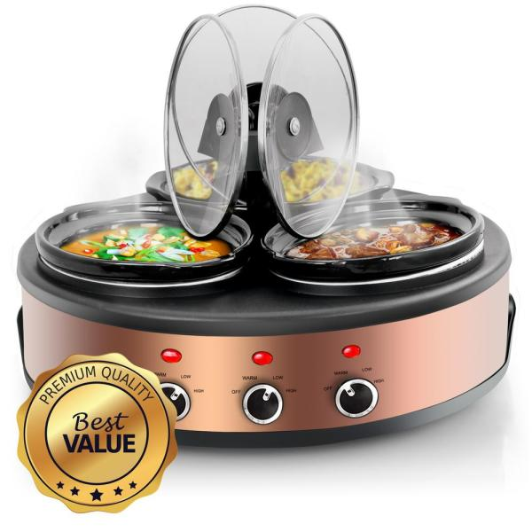 Megachef Triple 1.5 Qt. Slow Cooker And Buffet Server-985109462m - Home Depot