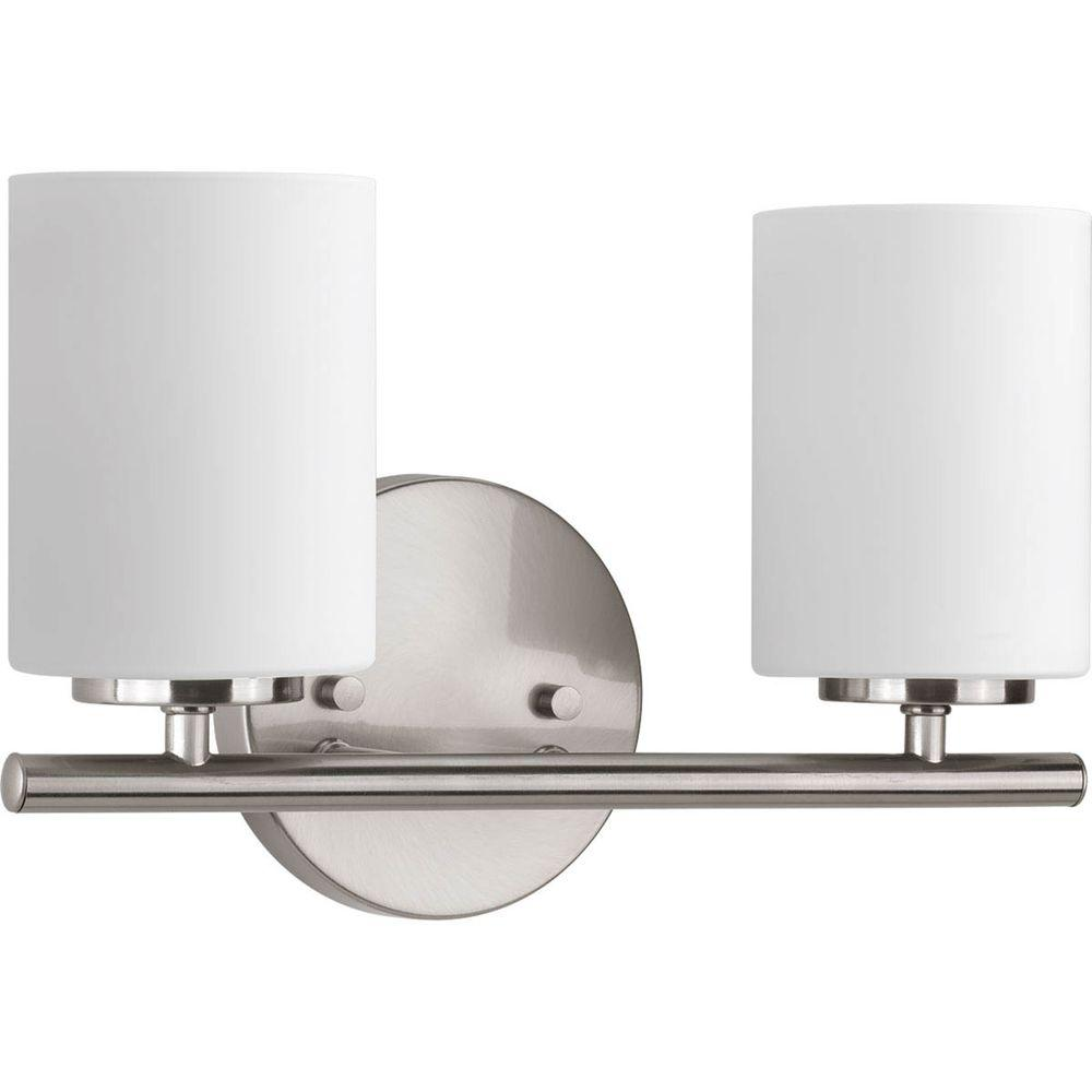 Ferguson Bathroom Vanities Progress Lighting Replay 13 In 2 Light Brushed Nickel Bathroom Vanity Light With Glass Shades