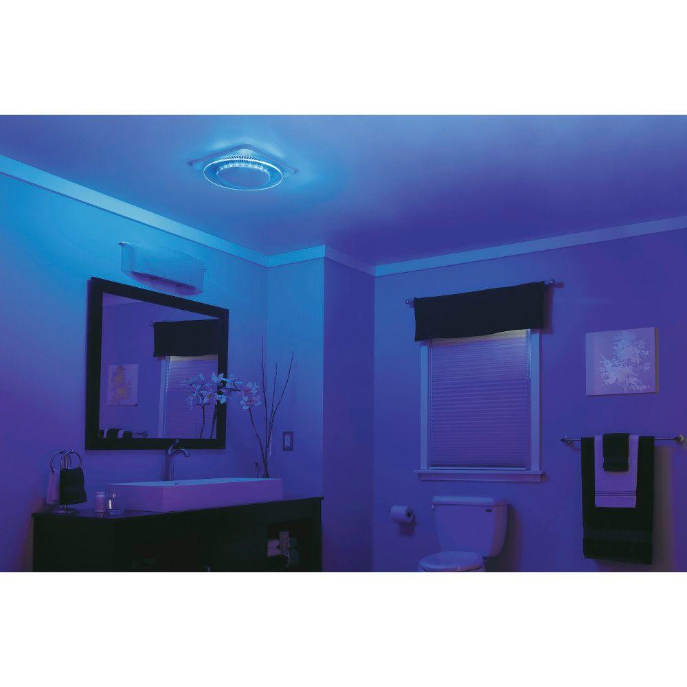 hight resolution of nutone lunaura round panel decorative white 110 cfm bathroom exhaust fan with light and blue led night light energy star qtnleda the home depot
