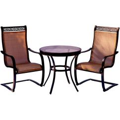 Bistro Chairs Dining Room Church Wood Frame Hanover Monaco 3 Piece Aluminum Outdoor Set With Round Glass Top Table Contoured Sling Spring
