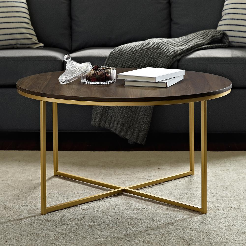 walker edison furniture company 36 in dark walnut gold medium oval mdf coffee table with x base hdf36alctdwg the home depot