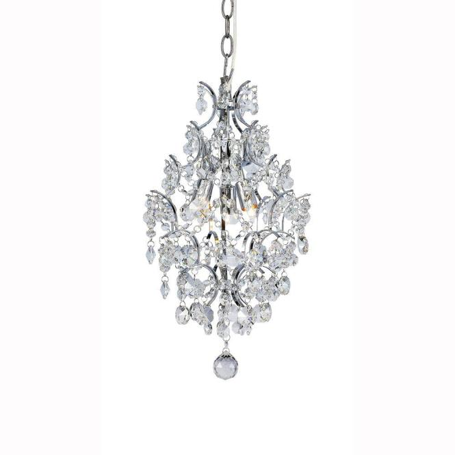 3 Light Chrome Branches Pendant With Crystals