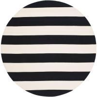 Safavieh Montauk Black/Ivory 4 ft. x 4 ft. Round Area Rug ...