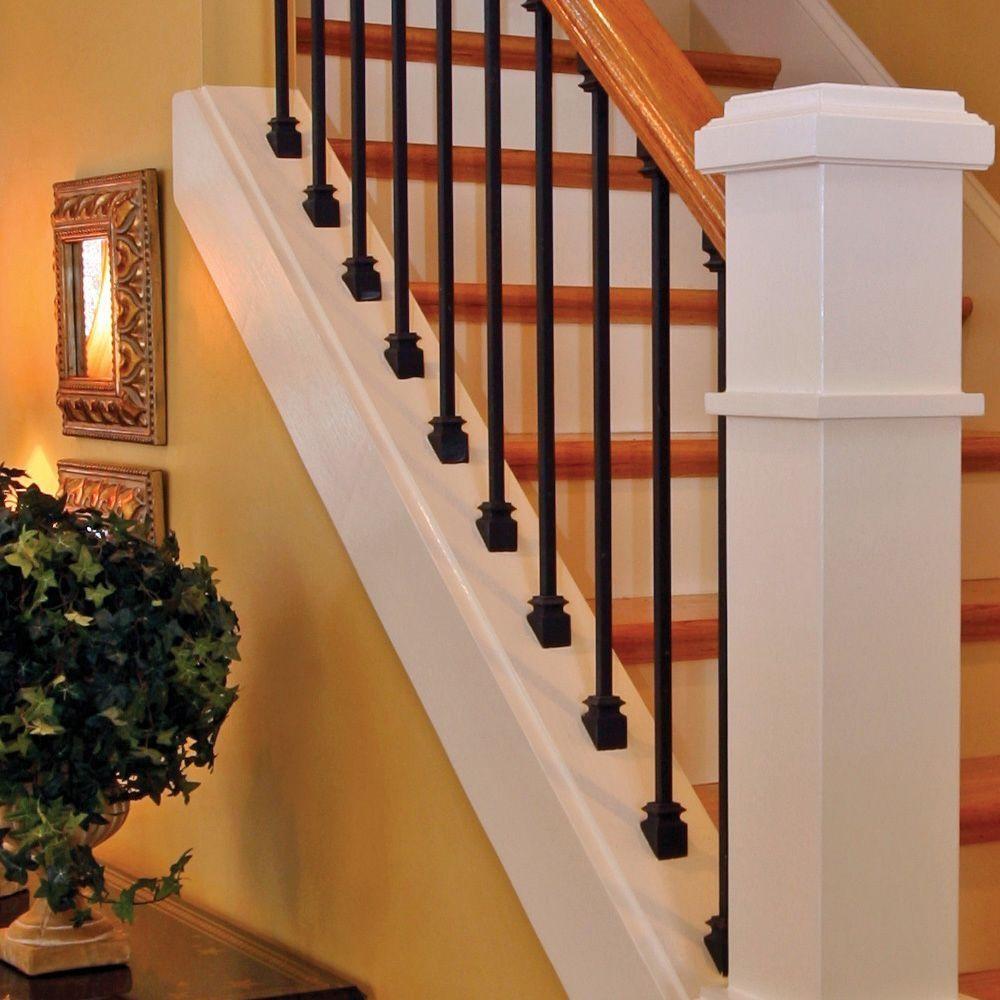 Stair Parts 5 8 In Satin Black Metal Angled Baluster Shoe I350D | Interior Railings Home Depot | Metal | Pre Assembled | Indoor | Interior Diy Stair | Plastic