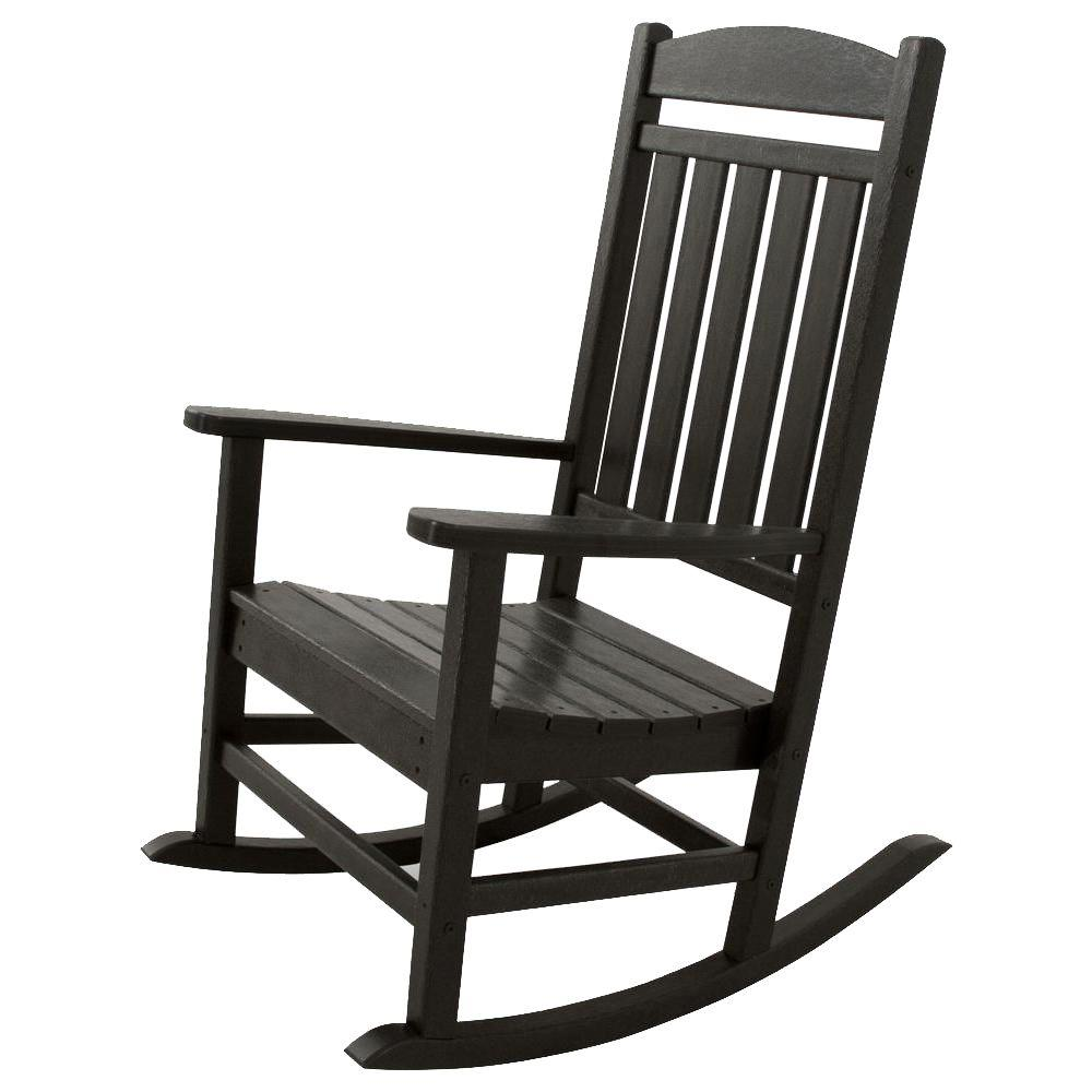black rocking chairs white leather swivel chair ivy terrace classics patio rocker ivr100bl the home depot