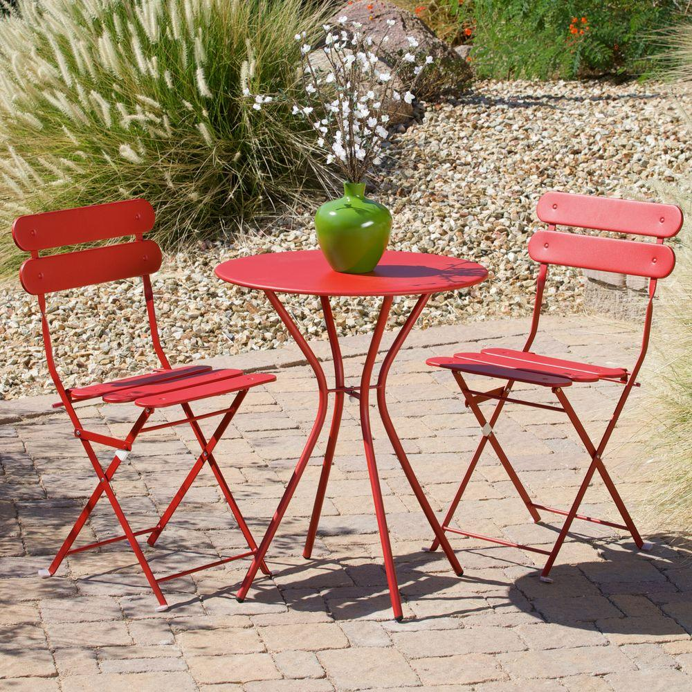 Metal Bistro Table And Chairs Rst Brands Sol Red 3 Piece Patio Bistro Set