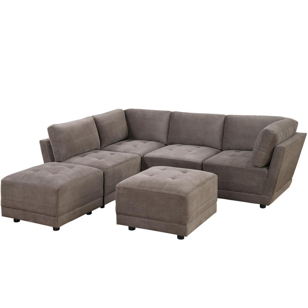 harper fabric 6 piece modular sectional sofa one cushion venetian worldwide charcoal waffle suede set with ottoman