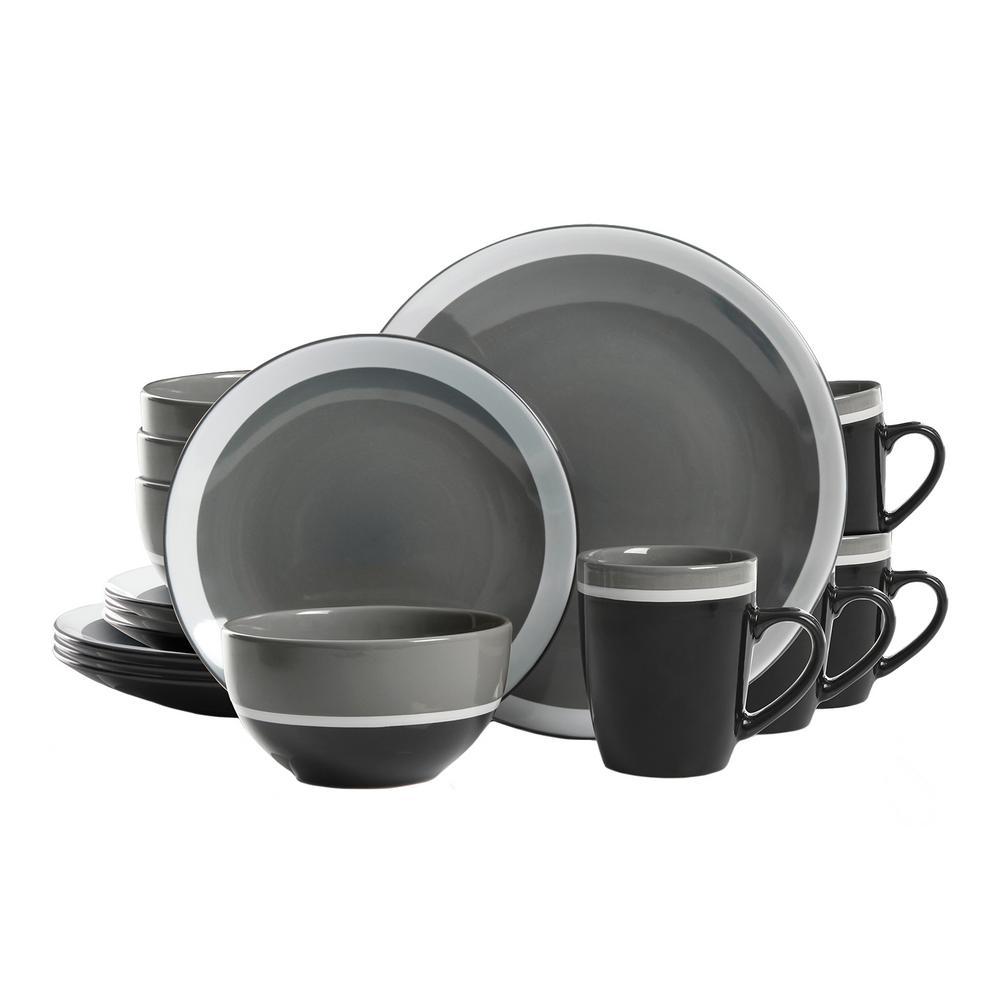 Gibson Color Eclipse 16 Piece Gray Dinnerware Set