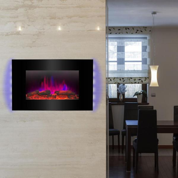 Akdy 36 In. Wall Mount Electric Fireplace Heater In Black With Tempered Glass Pebbles Logs And