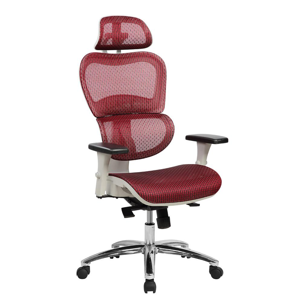 executive mesh office chair white outdoor dining chairs techni mobili red deluxe high back with neck support