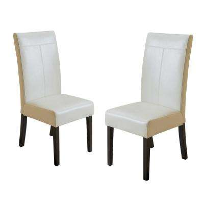 material to recover dining room chairs steelcase amia chair manual faux leather upholstery kitchen lissa ivory pu t stitch set of 2