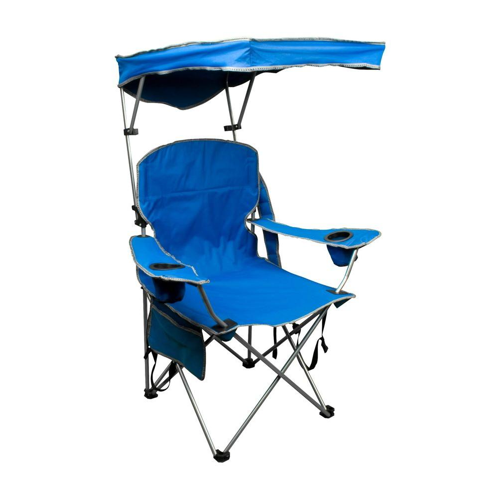 Patio Folding Chairs Quik Shade Royal Blue Patio Folding Chair With Sun Shade