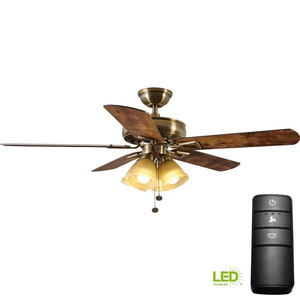 Hampton Bay Lyndhurst 52 In. Led Antique Brass Ceiling Fan With Light Kit And Remote Control