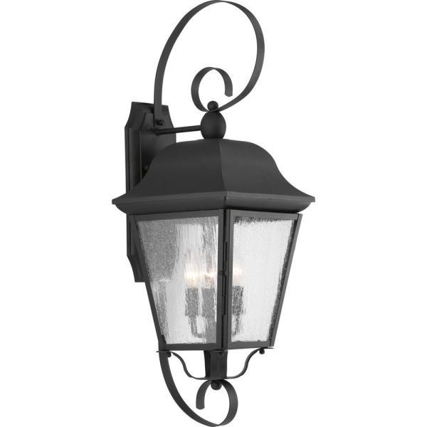 Progress Lighting Kiawah Collection 3-light Black 27.25 In. Outdoor Wall Lantern Sconce-p560012