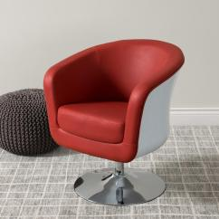 Leather Tub Chair Pink Wingback Corliving Mod Modern Red And White Bonded Dln 250
