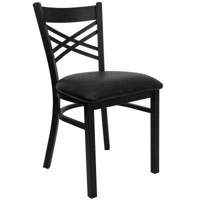 black cross back dining chairs cheap chair covers calgary metal side kitchen hercules series x restaurant with vinyl seat