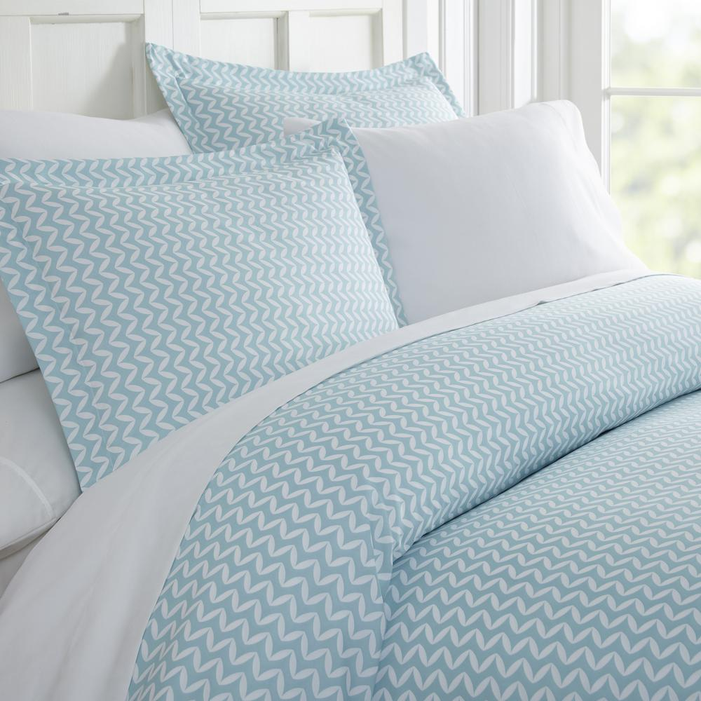 Becky Cameron Puffed Chevron Patterned Performance Light Blue Twin 3 Piece Duvet Cover Set Ieh Duv Puf Tw Lb The Home Depot