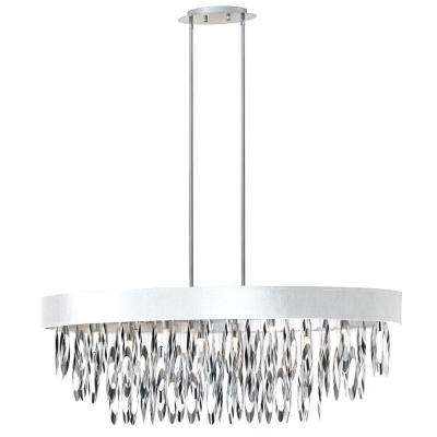 Allegro 8 Light Polished Chrome Oval Chandelier With White Shade