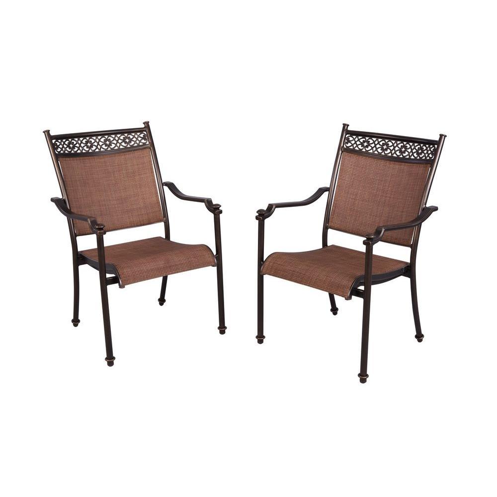 Hampton Bay Niles Park Sling Patio Dining Chairs 2Pack