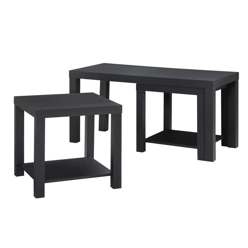 3 piece table set for living room outdoor rooms ameriwood home simpson black coffee and end