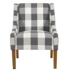 Accent Chair With Arms Replacement Cushions For Rattan Chairs Homepop Blue Buffalo Plaid Modern Swoop Arm K6908 F2269