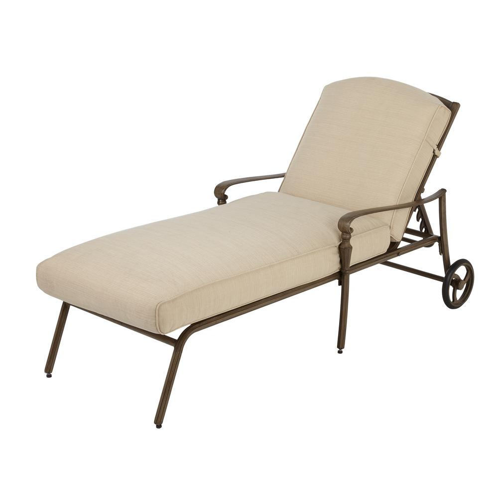 Hampton Bay Cavasso Metal Outdoor Chaise Lounge with