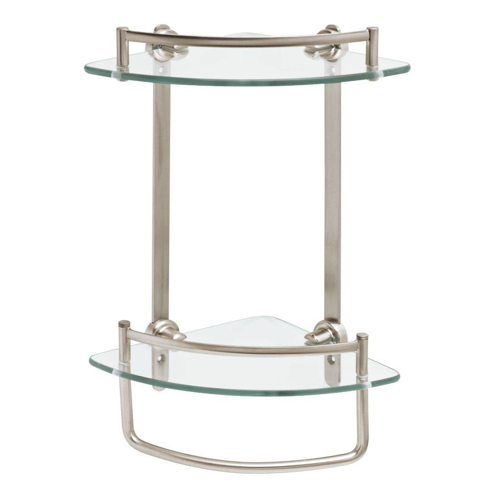 Glass Shelves Bathroom 8 In W Glass Double Corner Shelf With Hand Towel Bar In Brushed Nickel