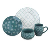 Moroccan 16-Piece Dinnerware Set in Turquoise-MOROCT16 ...