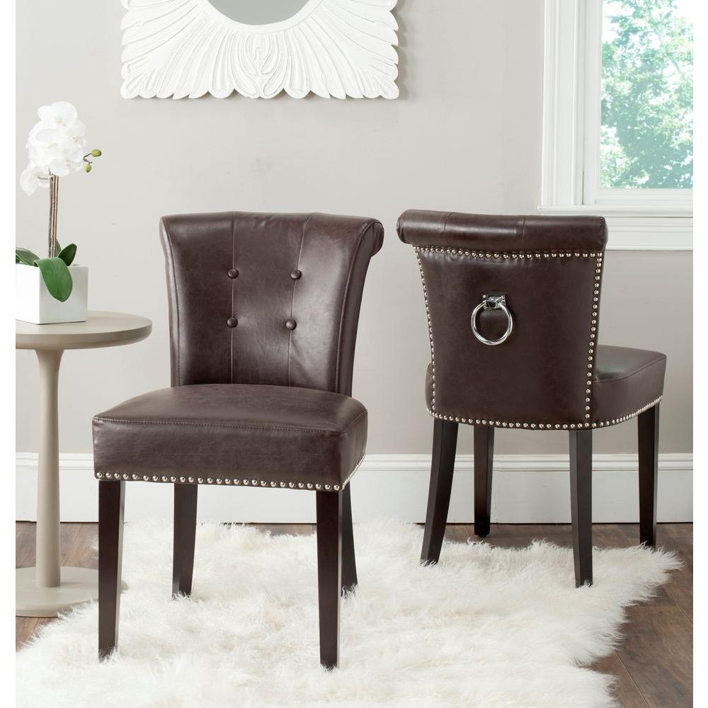 Safavieh Sinclair Antique Brown Leather Side Chair Set of