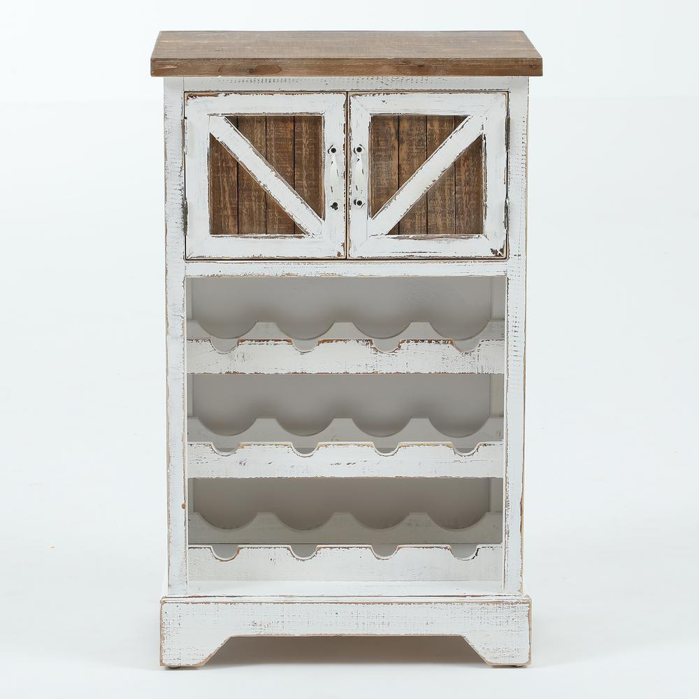 Winsome House White and Natural Wood Wine CabinetWHIF369