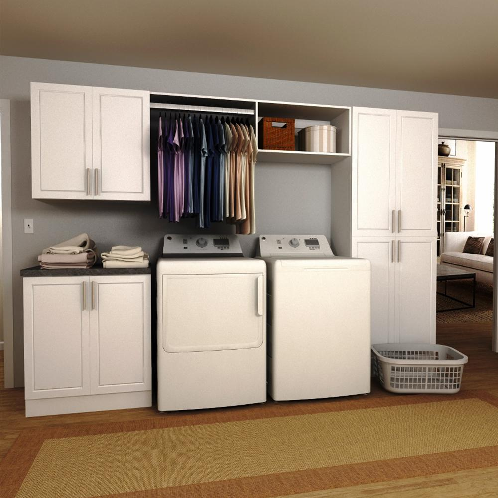 Modifi Horizon 60 in W White Open Shelves Laundry Cabinet