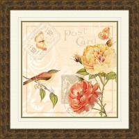 """19.5 in. x 19.5 in. """"Ivory Floral A"""" Framed Wall Art-1 ..."""