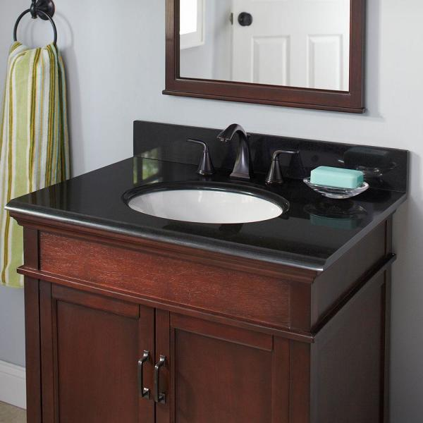 Pegasus 31 In W Granite Vanity Top In Midnight Black With White Bowl And 8 In Faucet Spread 31888 The Home Depot