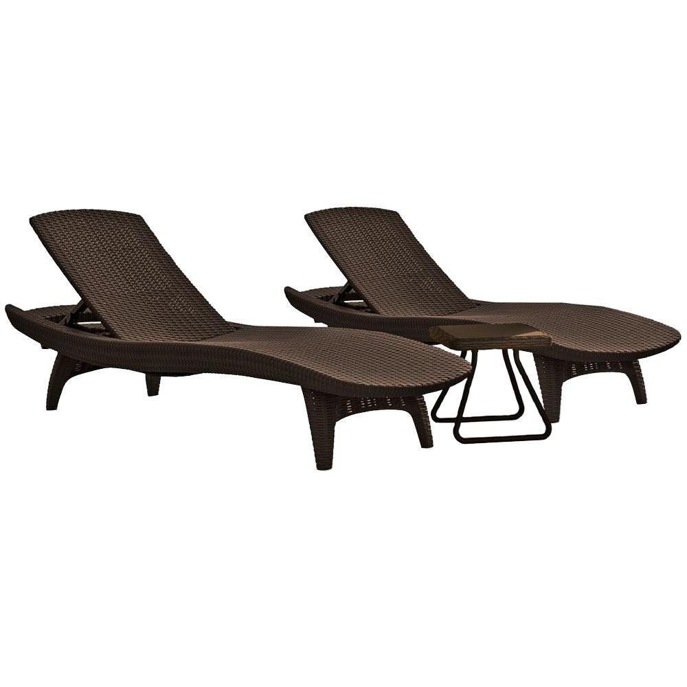 home depot lounge chairs x rocker pedestal video gaming chair keter pacific whiskey brown all weather adjustable resin patio chaise lounger with side table 3 piece set