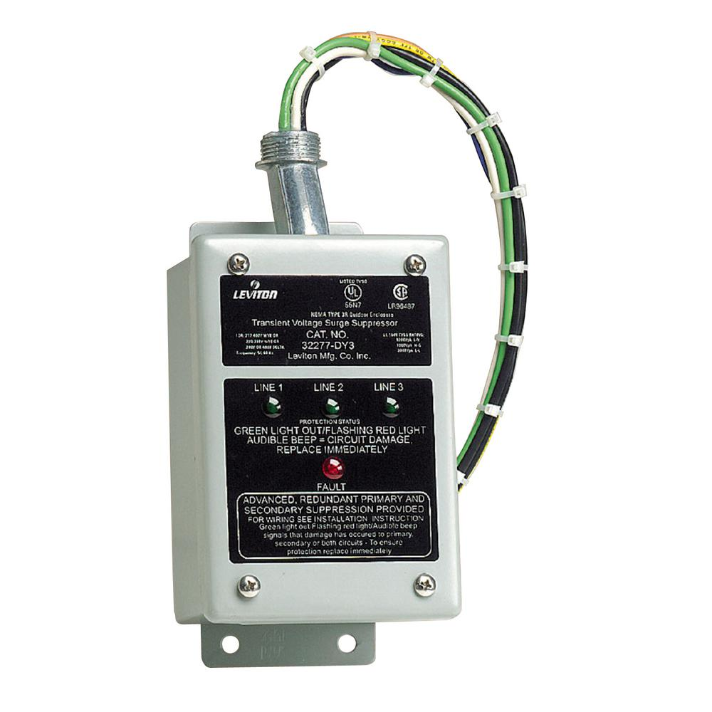 medium resolution of leviton 277 480 volt 220 380 volt 480 volt 3 phase wye or delta surge panel gray 32277 dy3 the home depot