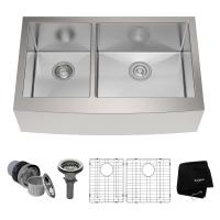KRAUS Farmhouse Apron Front Stainless Steel 33 in. Double ...