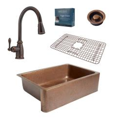 Kitchen Sink Faucet Wall Tile Sinkology Pfister All In One Adams 33 Farmhouse Copper Combo With Rustic Bronze And Disposal Drain