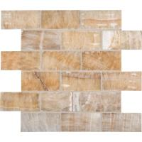 12 in. x 12 in. x 10 mm Honey Polished Onyx Subway Mesh ...