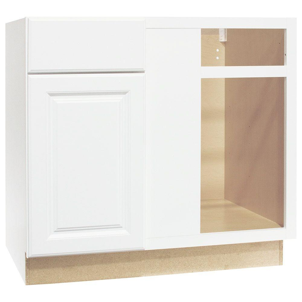 white corner kitchen cabinet space saving table hampton bay assembled 36x34 5x24 in blind base satin