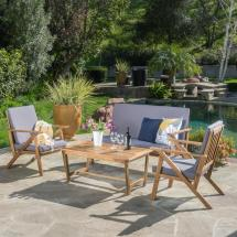 Noble House Panama Teak 4-piece Wood Patio Conversation