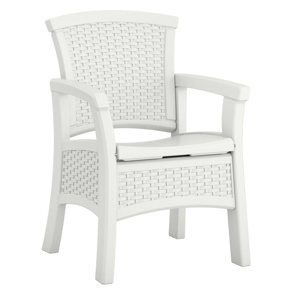 Resin Chairs Suncast Elements Stationary Resin Outdoor Dining Chair With Storage