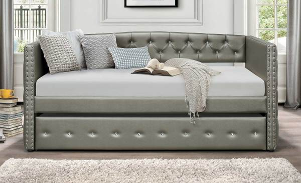 Homelegance Trill Daybed With Trundle - Silver Vinyl 4974