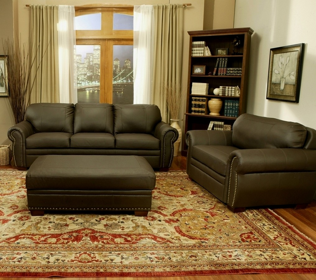 large leather chair with ottoman the chronicles of narnia silver trailer 2016 abbyson living signature premium italian oversized sofa set ab ci d210 brn 3 1 4 at homelement com