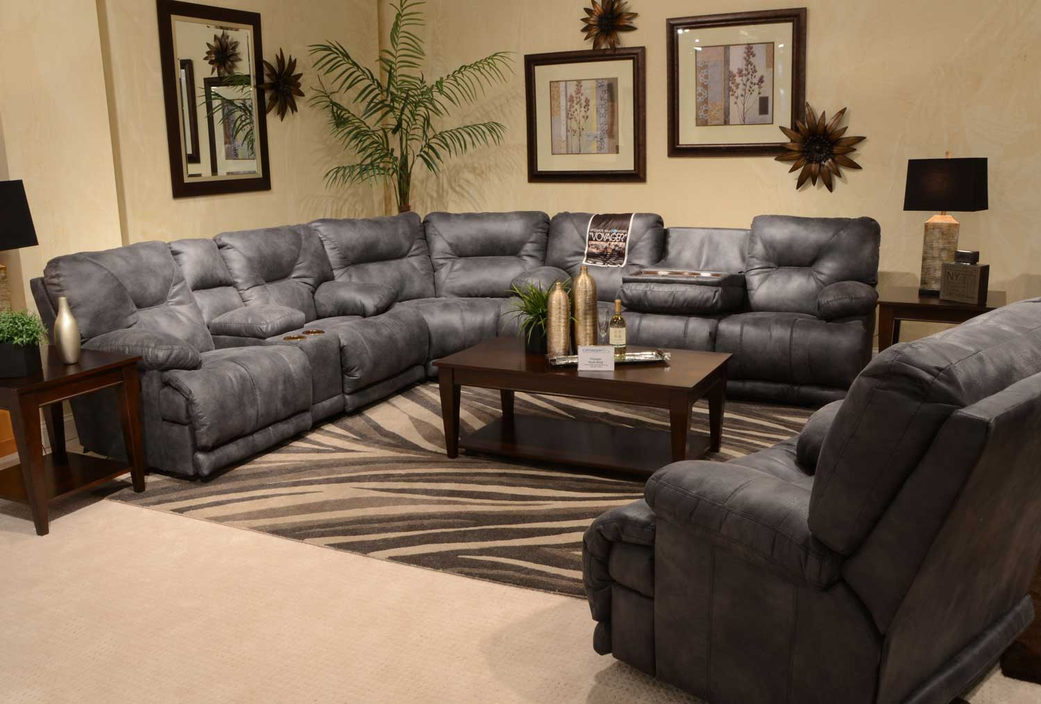catnapper sofas and loveseats contemporary sectional for small spaces voyager with lay flat 3 recliner sofa console loveseat wedge slate cn 43845 sect set at homelement com