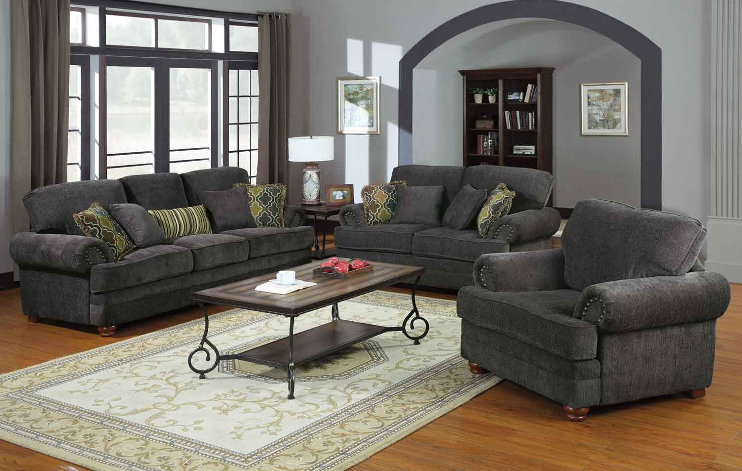 grey living room set wall colours pictures coaster colton smokey 504401 livset at homelement com