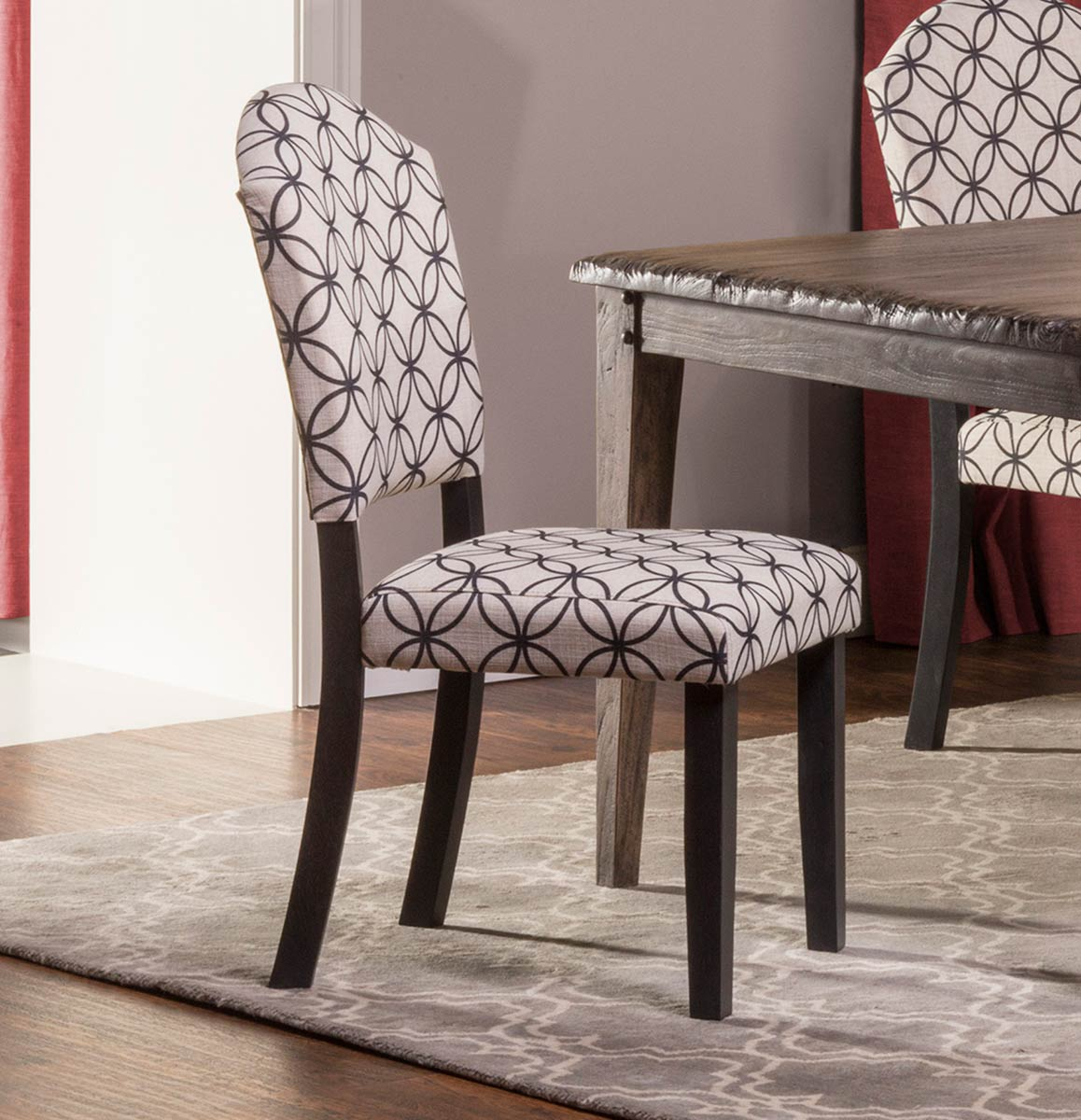 distressed black dining chairs buy folding hillsdale lorient parsons chair bristol off white with circle pattern hd 5676 801 at homelement com