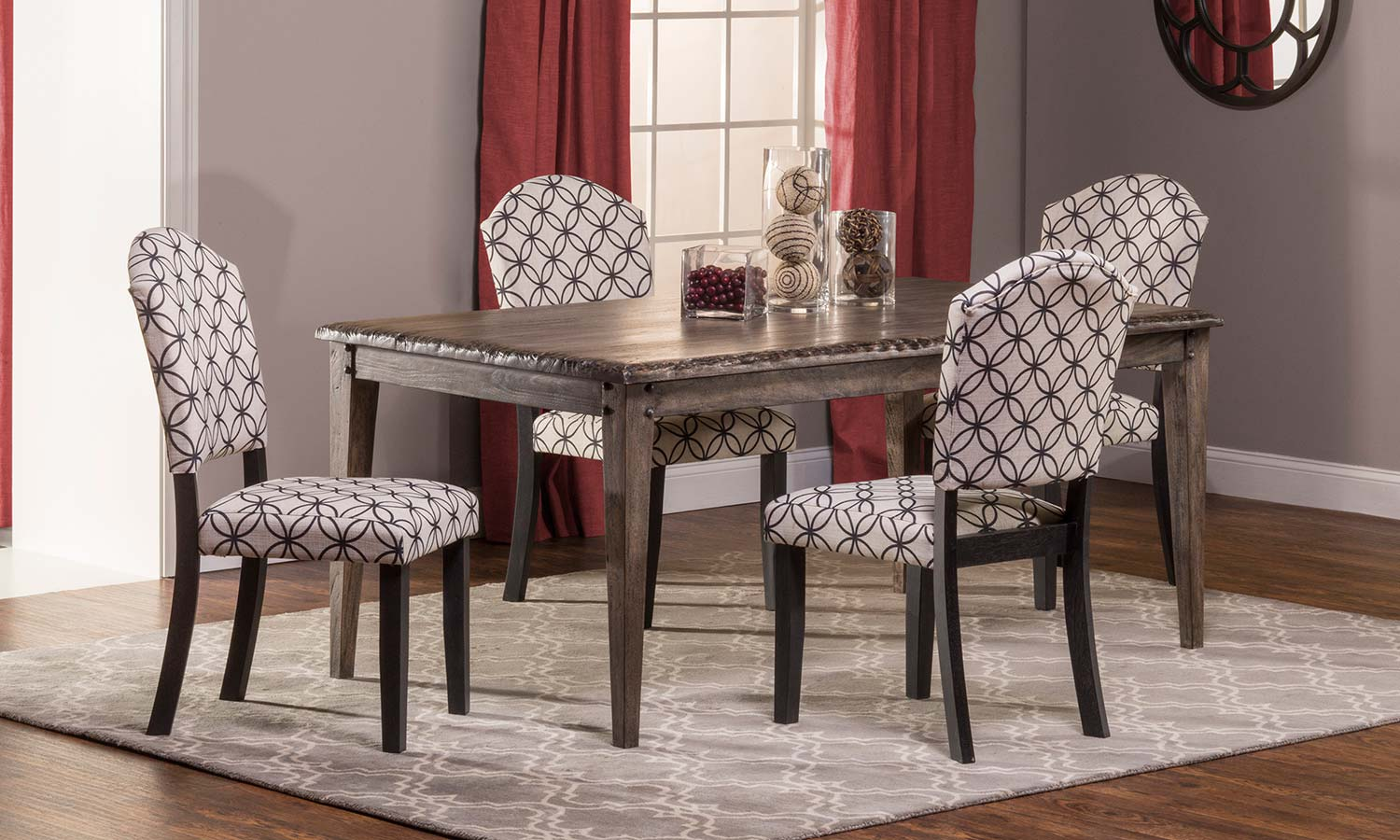 black parsons chair covers for cheap hillsdale lorient 5 pc rectangle dining set with washed charcoal gray bristol off white circle pattern